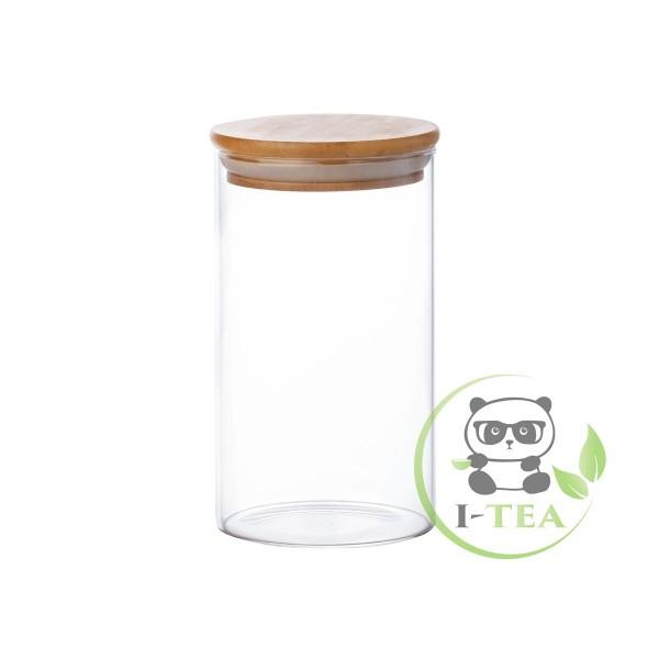 Стеклянный контейнер с бамбуковой крышкой (85х150)