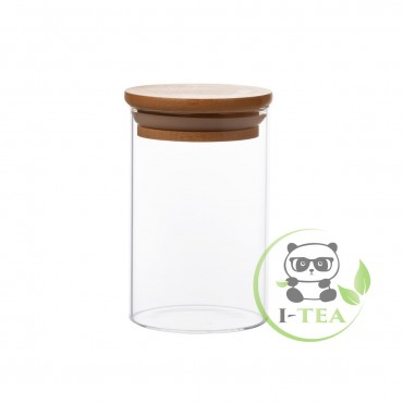 Стеклянный контейнер с бамбуковой крышкой (65х100)